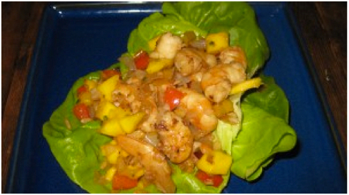Stir Fried Shrimp in Lettuce Cups